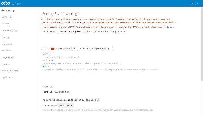 NEXTCLOUD UPGRADE 14 TO 16 - NextCloudPi updated to NC15 0 2