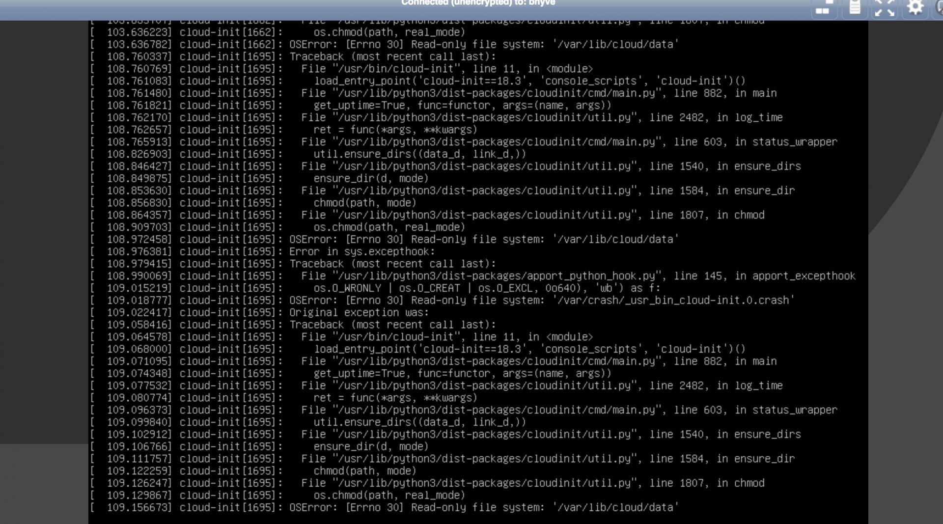 11 2 RC1 Ubuntu VM has problems accessing its disk