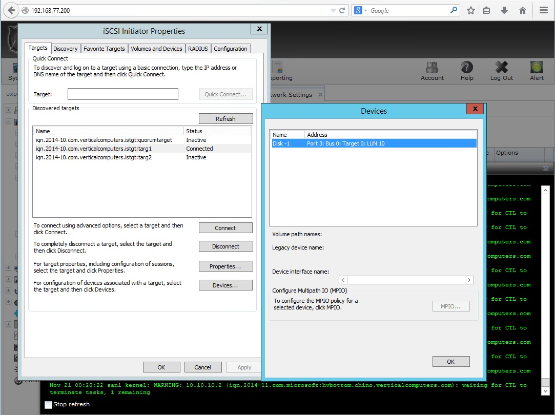 iSCSI LUNs not showing in Server 2012 R2 | iXsystems Community
