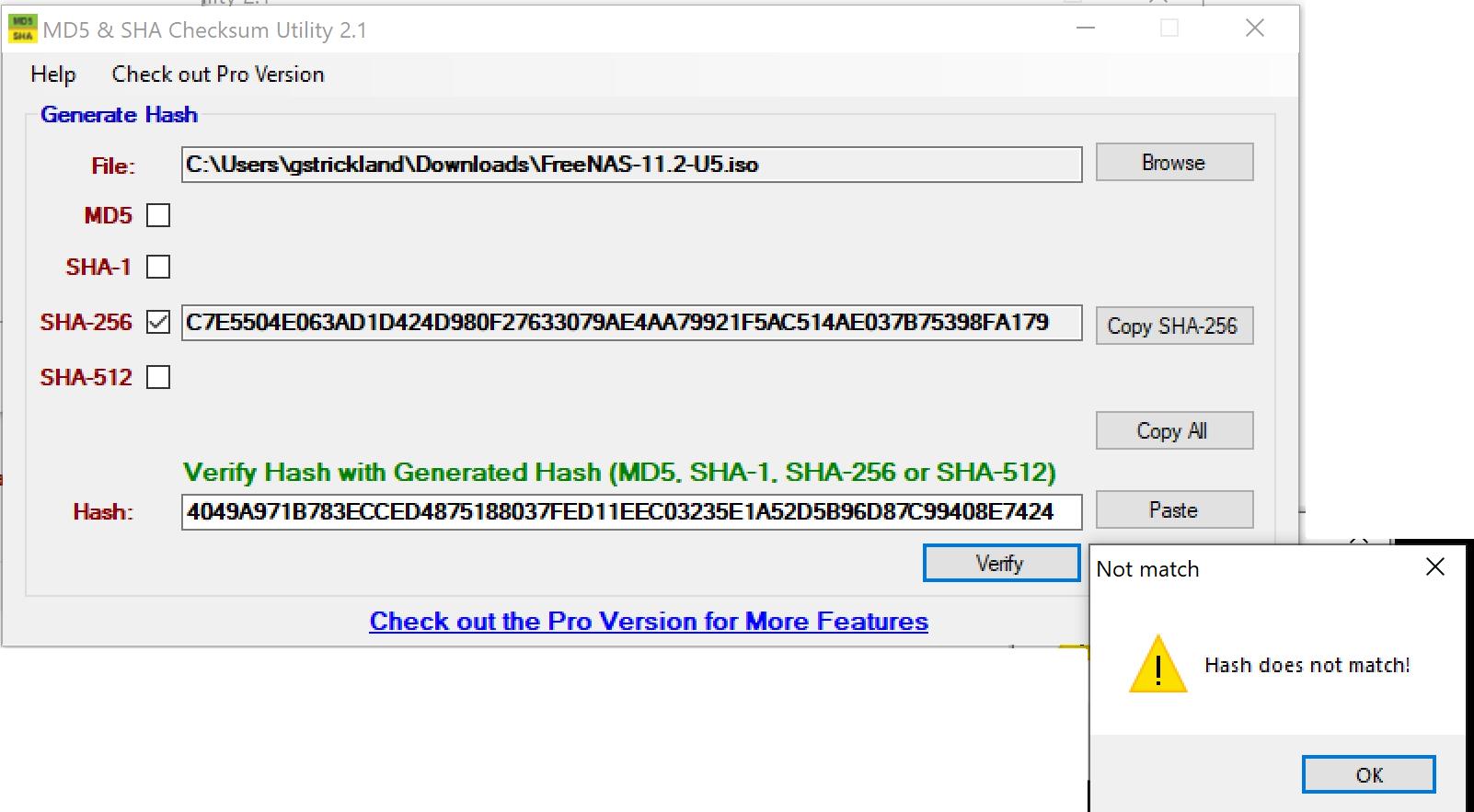 FreeNAS-11 2-U5 iso fails SHA256 check   iXsystems Community