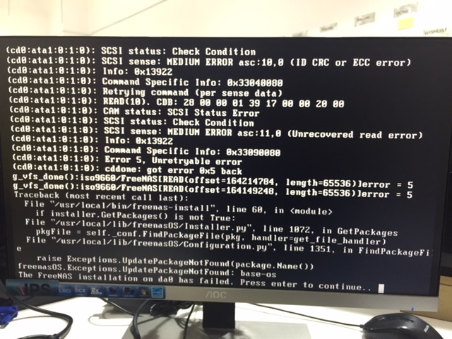 Error 5 FreeNAS installation on da0 has failed | iXsystems Community