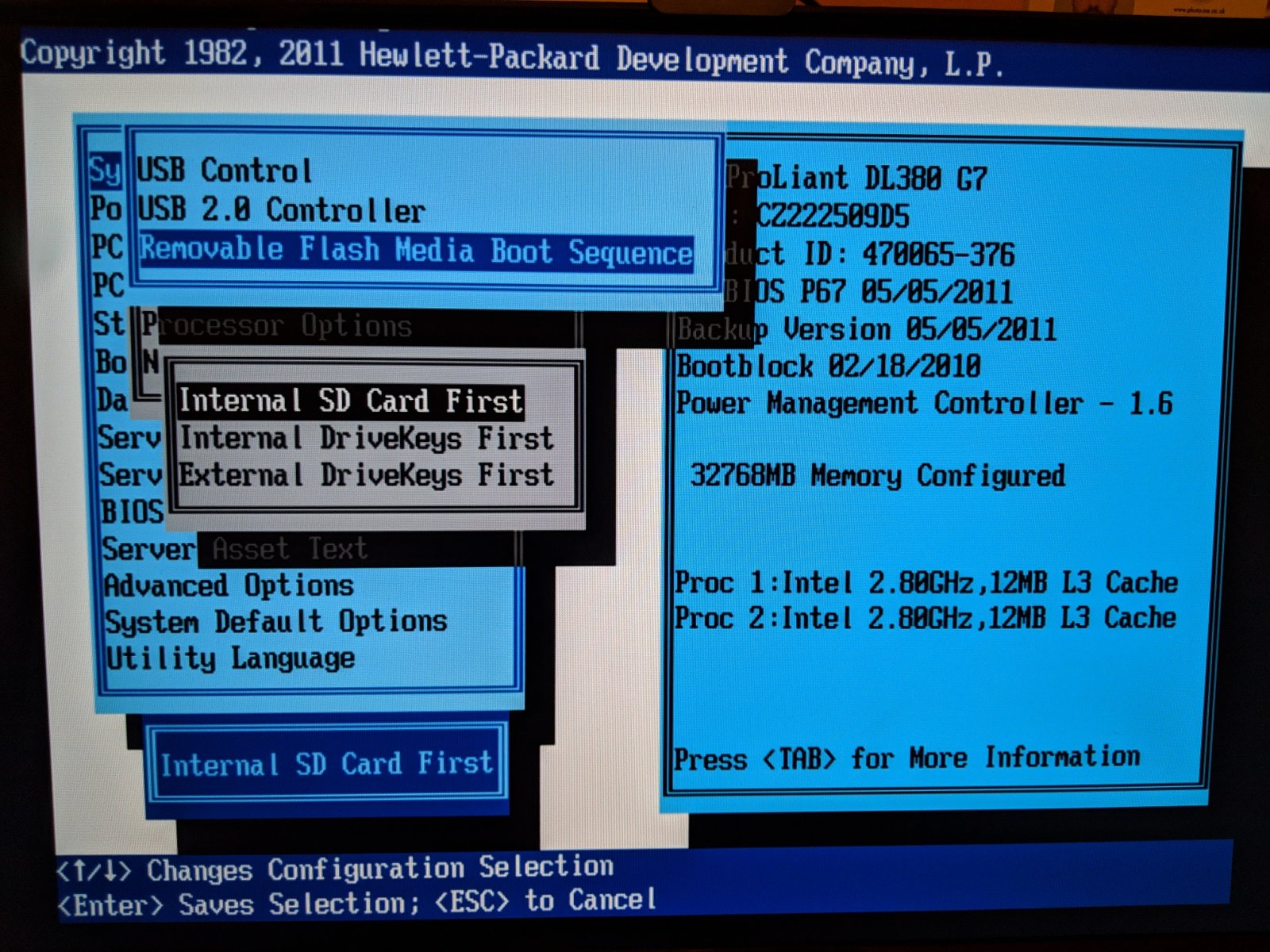 HP DL380 G7 won't boot from SD Card | iXsystems Community
