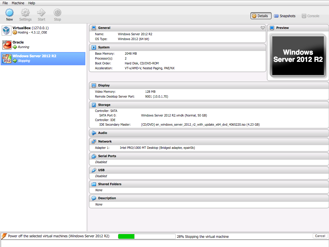 VirtualBox continuously