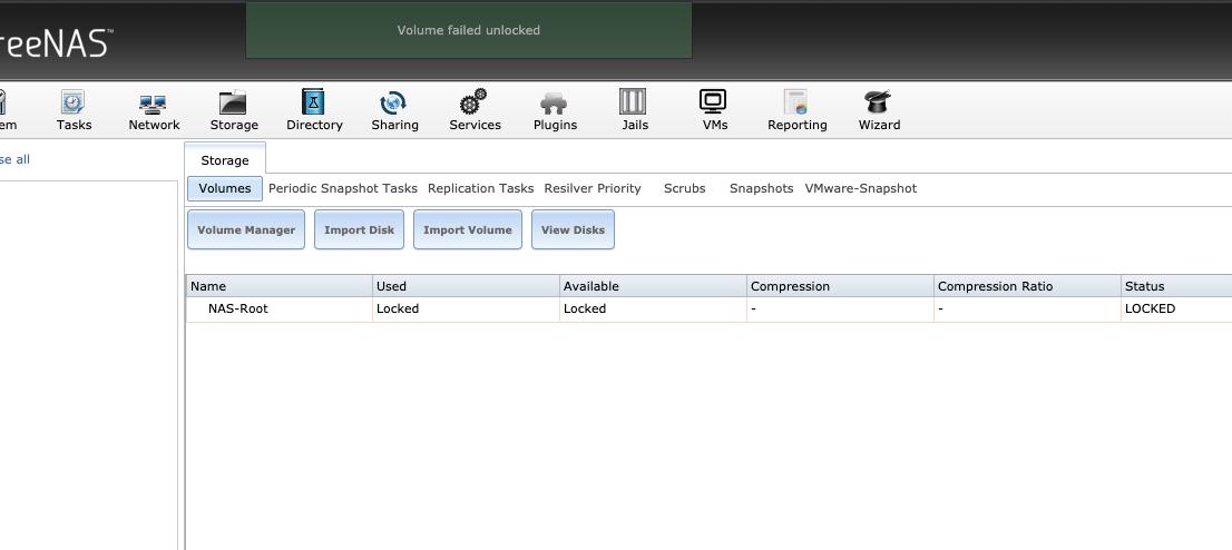 FreeNAS 11 1-U7 Cannot import encrypted volume | iXsystems Community