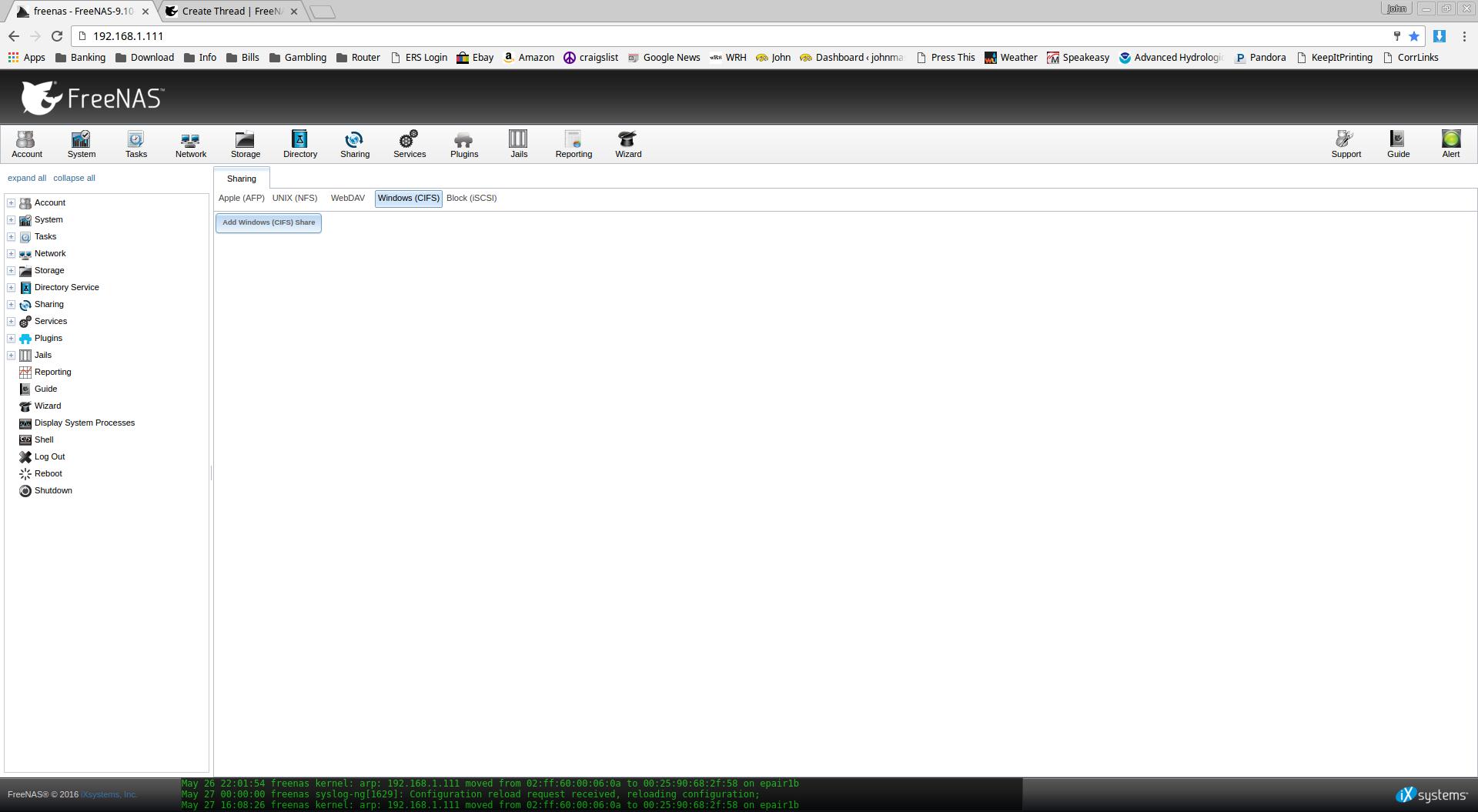 WebGUI broken in Chrome - Tabs for Storage, Jails, Plugins, etc not