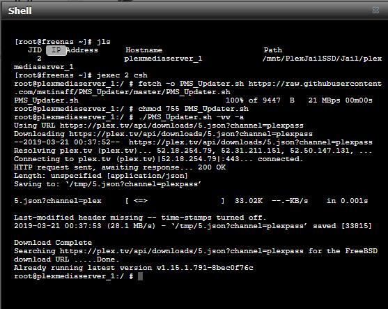FreeNAS-11 1-U7 - Plex Not Updating (Shell Method
